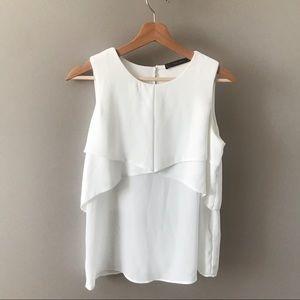 Zara White Short Sleeve Blouse